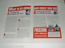 1942 PRESTONE Anti-freeze 2-page advertisement, Eveready glass jug
