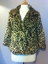 Vintage Faux Fur Animal Print Cropped Jacket Size S