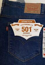 Levis Men's Original 501 Levi's Strauss Denim Skinny Fit New Style W 34 Leg 32