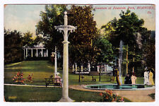 RARE 1907 View Fountain at Fountain Park Roanoke VA Printed in Germany Antique