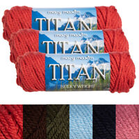 3pk Mary Maxim Titan 100% Acrylic Yarn #5 Bulky Knitting Crocheting Skeins Soft