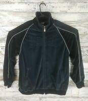 Everlast Mens Full Zip Velvet Sweatshirt Jacket Black Gray Velour Boxing Size XL