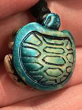 """Sea Turtle Yak Bone Seafoam Sparkle Blue 18"""" Adjustable Black Rope Necklace SE"""
