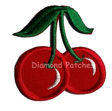 Cherry Embroidered Iron / Sew On Patch Red Sweet Cherries Rockabilly Dress Badge