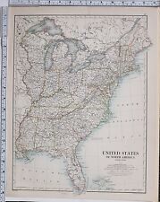 1889 LARGE ANTIQUE MAP ~ UNITED STATES NORTH AMERICA EASTERN FLORIDA NEW YORK