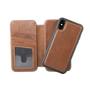 iPhone 8 Plus Wallet Case Luxury Genuine Leather Detachable Magnetic Cover Brown