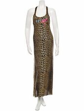 BEAUTIFUL NEW RACER BACK JEAN PAUL GAULTIER LEOPARD PRINT MESH MAXI DRESS