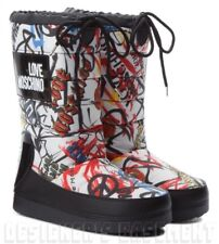 LOVE MOSCHINO white 39-40 logo GRAFFITI quilted heart Snow MOON Boots NIB Authen