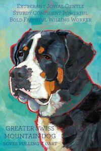 Greater Swiss Mountain Dog - Dog Portrait - Fridge Magnet - Repro Oil Painting