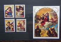 Aitutaki 1989 Christmas Virgin in the Glory by Titian set & Miniature Sheet MNH