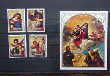 More details for aitutaki 1989 christmas virgin in the glory by titian set & miniature sheet mnh