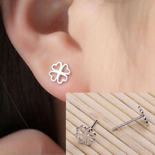 925 Silver Plated Fashion Sweet Hollow Clover Women Party All_match Earrings