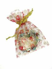 "Golden Heart Glitter Swirl Pattern Sheer Ribbon Gift Bag 25 pcs  New 5"" x 7"""