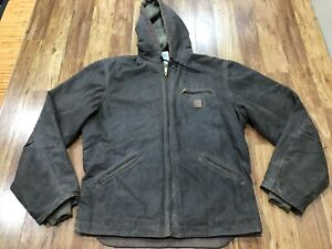 MENS LARGE TALL - Carhartt J141 Sandstone Sherpa Quilt Line Oiled Hooded Jacket