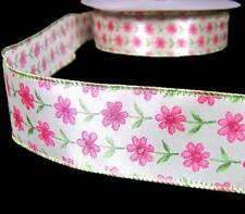 """5 Yards Raspberry Pink Blue Curlicue Wired Ribbon 1 1//2/""""W"""
