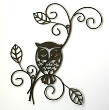 Metal Wall Art Decor Picture - OWL ON BRANCH *New* Boxed