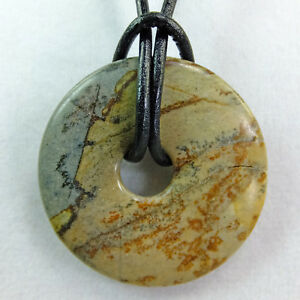 """Large Picture Jasper 1 1/2"""" Polished Stone Donut Black Leather Cord Necklace #91"""