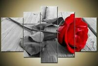 ZWPT10 5pcs 100% hand-painted modern red rose flower oil painting  art on Canvas