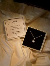 Gift for bridesmaid jewellery  sterling silver pendant  CZ personalized box