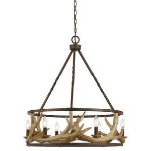 Cal Lighting Antler 6 Light Resin and Metal Chandelier, Rust - FX-3618-6