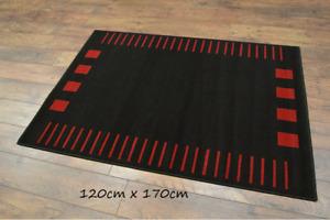 LUXURY BLACK & RED RUG CARPET LARGE SIZE 120cm x 170cm BRAND NEW HIGH QUALITY