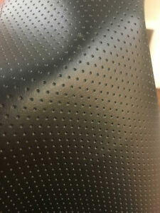 """SEMI PERFORATED BLACK faux leather vinyl commercial grade upholstery 54"""" Wide"""