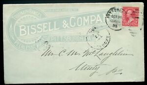 U.S. T I 1st Bur. Iss. on 1895 Ad Cover for Bissel & Company in Pittsburgh, PA