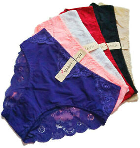 6 Damen Pantys mit Spitze Slips Hipster Panty versch. Farben Gr. 44 46 48
