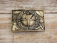 Federal Aviation Administration Solid Brass Vintage 1980s Belt Buckle