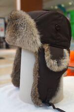 Hunting Aviator Alaskan Trail Rabbit Fur Hat Bomber Brown Shell Large (L)