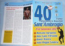 Match Programme BASKET 40 Torneo Sant Ambrogio Gallinari Riva Viola Upea Moncada