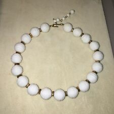 Vintage Trifari White Gold Tone Textured Plastic Beaded Choker Necklace 16""