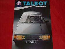 Talbot Tagora GL GLS DT SX prospectus de 1982