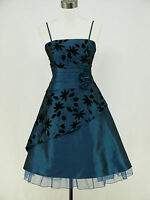 dress190 BLUE 50s FLORAL PROM EVENING PARTY DRESS PLUS SIZES AVAILABLE UK 8-26