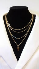 Alloy Gold Plated 4 Layers Cross Charm Chain Pendant Necklace