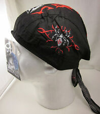 100% Cotton Black Spider & Chopper Cross Biker Bandanna Biker Head Wrap Do Rag