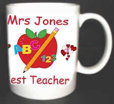 BEST TEACHER MUG.SCHOOL END OF TERM GIFT PERSONALISED WITH TEACHER , PUPIL NAMES
