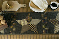 """FARMHOUSE Star 48"""" Table Runner Rustic Primitive Quilted Patchwork Black Khaki"""