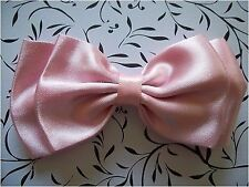 """NEW HANDMADE PASTEL BABY PINK SATIN 4"""" DOUBLE BOW HAIR CLIP CUTE RETRO GLAMOUR"""