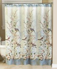 Bluebird Fabric Shower Curtain Bathroom Birds on Branches Floral Garden Bath NEW
