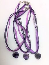 NEW HEART SHAPED NATURAL AMETHYST STONE +SILVER LOSBSTER CLAW CLOSURE NECKLACE