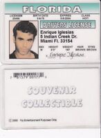 Enrique Iglesias Collectible card Drivers License fake id card