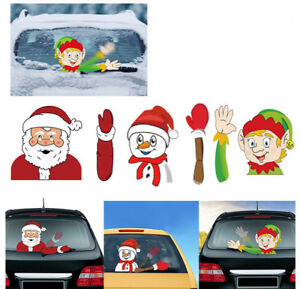 Christmas Waving Santa Claus Tags Decals Wiper Stickers Car Window Decoration
