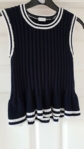 Next Girls 100% Cotton Knitted Top In Navy & Cream Colour Age 9yrs Old