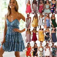 Womens Boho V-neck Mini Slip Dress Ladies Casual Summer Holiday Beach Sundress