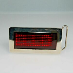 Unisex LED Belt buckle Light-Up Programmable Message Metal Battery-Powered US