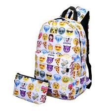 New 2Pcs Fashion Emoji Smile Print Backpack Travel School Bag for women girl