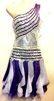 Damen/Mädchen Cheerleader-Kostüm/Uniform Fasching Lila/Silber/Weiß Gr. S/M/36-40