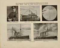 1916 WWI WW1 PRINT FROM GERMAN MAGAZINE NAVY PERISCOPE ABOUKIR HOGUE