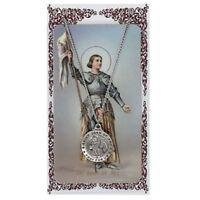 Needzo IVL Pewter Catholic Patron Saint Joan of Arc Medal with Holy Prayer Card